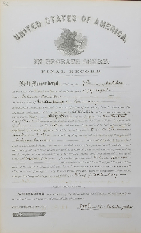 Naturalization Records Delaware County OH (p. 128)