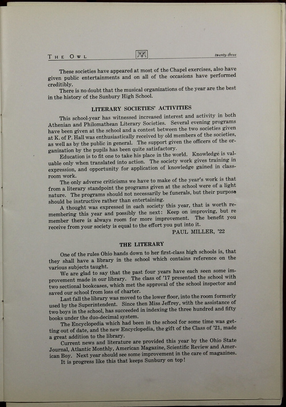 The Owl, Vol. II, 1922 (p.25)