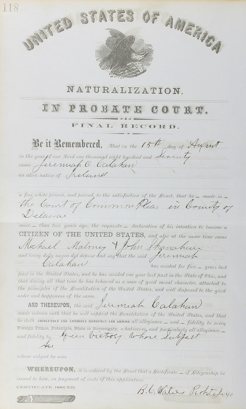 Naturalization Records Delaware County OH (p. 292)