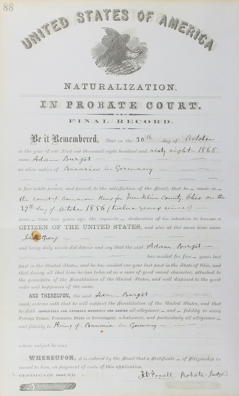 Naturalization Records Delaware County OH (p. 279)