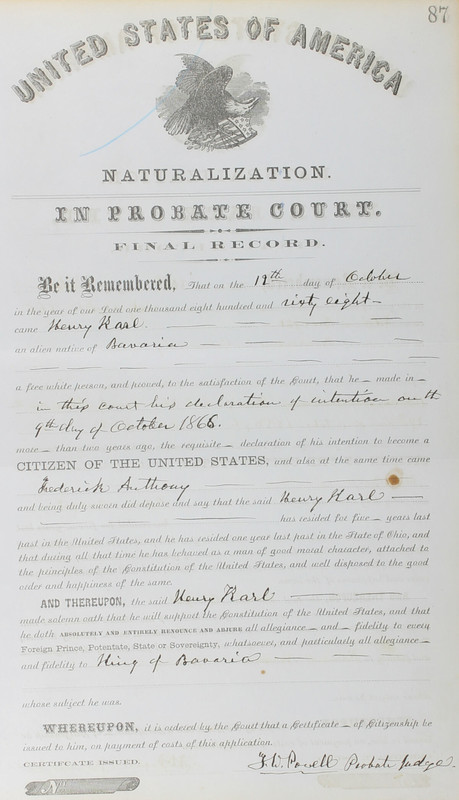 Naturalization Records Delaware County OH (p. 280)