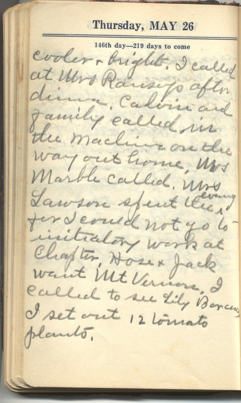 Roberta Hopkins' Diary 1927 (p. 152)