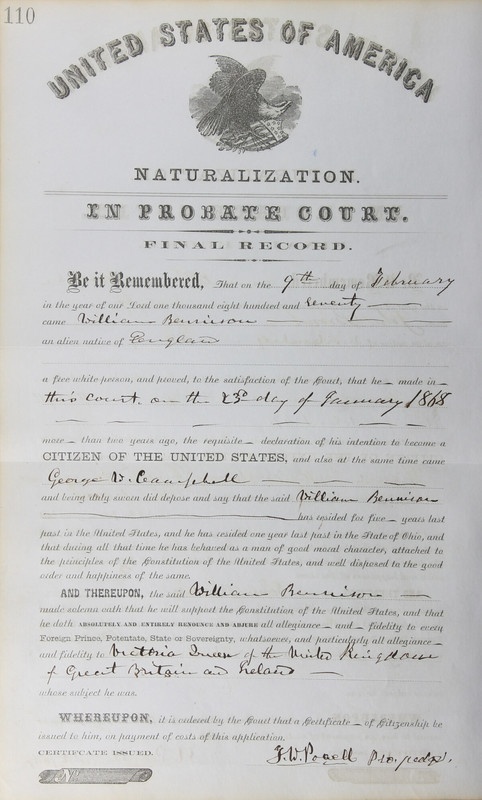 Naturalization Records Delaware County OH (p. 164)