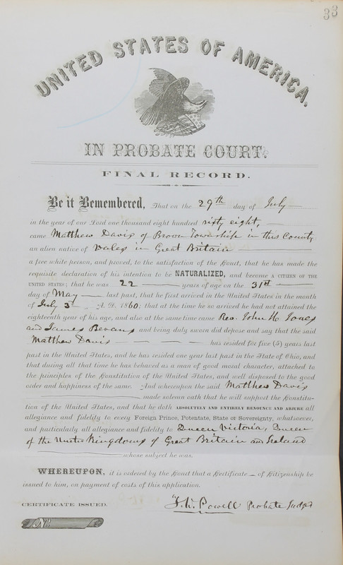 Naturalization Records Delaware County OH (p. 129)