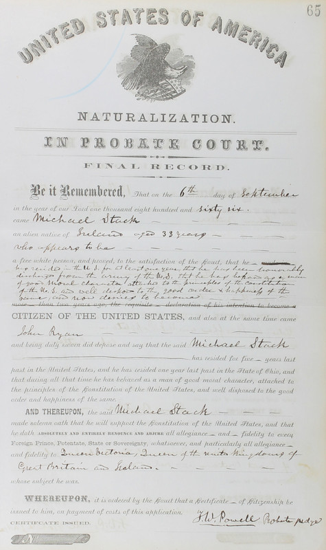 Naturalization Records Delaware County OH (p. 287)
