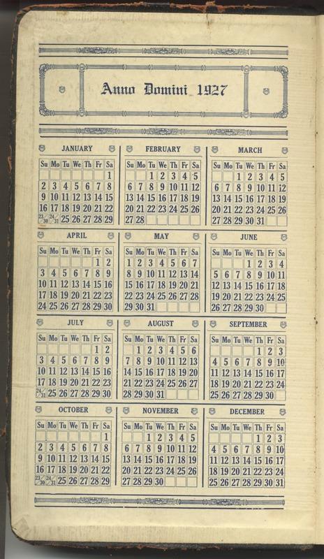 Roberta Hopkins' Diary 1927 (p. 2)