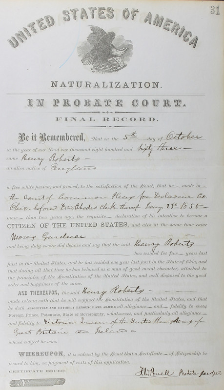 Naturalization Records Delaware County OH (p. 249)