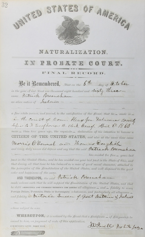 Naturalization Records Delaware County OH (p. 248)