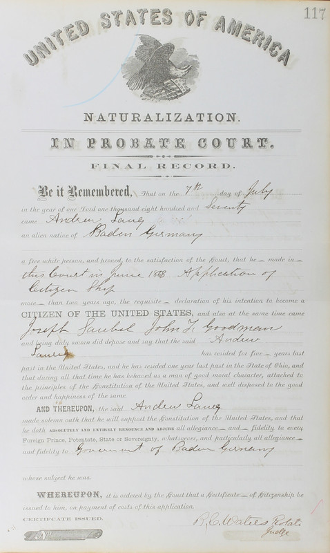 Naturalization Records Delaware County OH (p. 293)