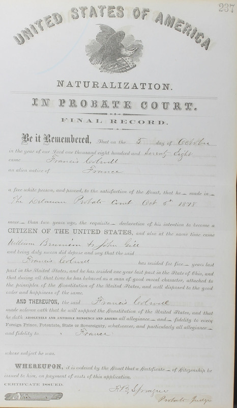 Naturalization Records Delaware County OH (p. 333)