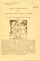 Berlin Township Program of the Delaware Historical Society